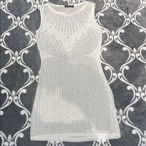 Sequinned white mini dress
